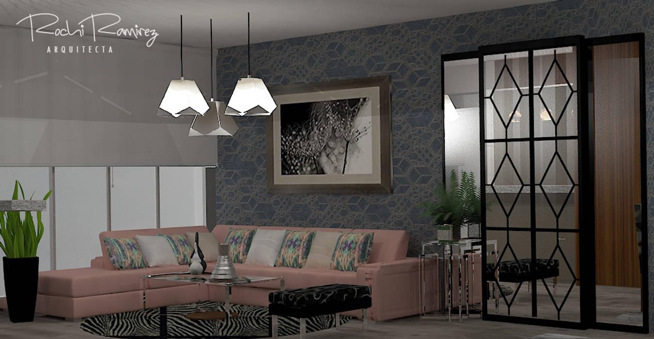 SALA OPCION 2: Salas / recibidores de estilo  por Estudio R&R,