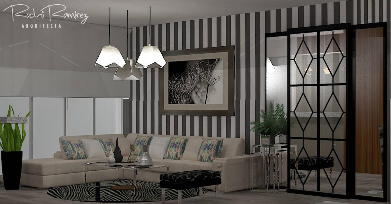 SALA OPCION 3: Salas / recibidores de estilo  por Estudio R&R,