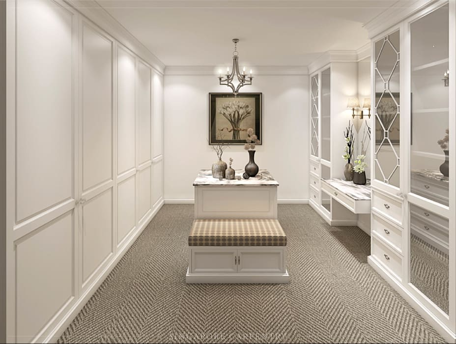 Colonial Style at Ringwood Road:  Dressing room by Singapore Carpentry Interior Design Pte Ltd,Colonial
