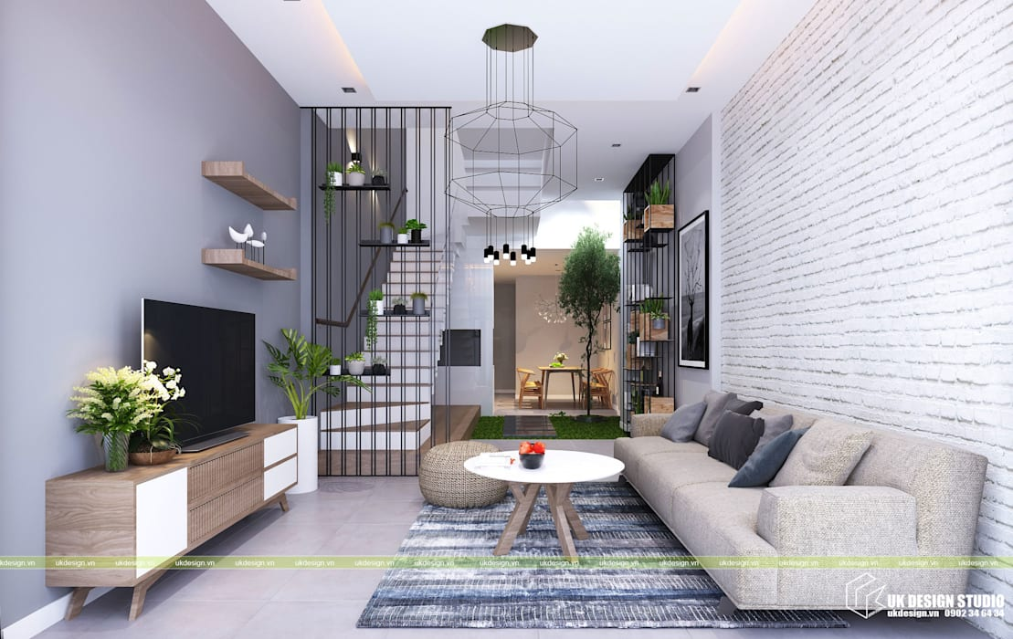 Nội thất phòng khách:  Phòng khách by UK DESIGN STUDIO - KIẾN TRÚC UK,
