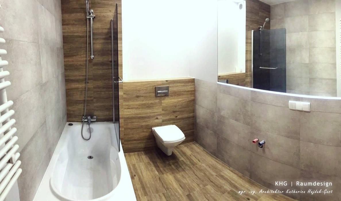 Badezimmer mit holz- und betonoptik-fliesen, übersicht 2 ...