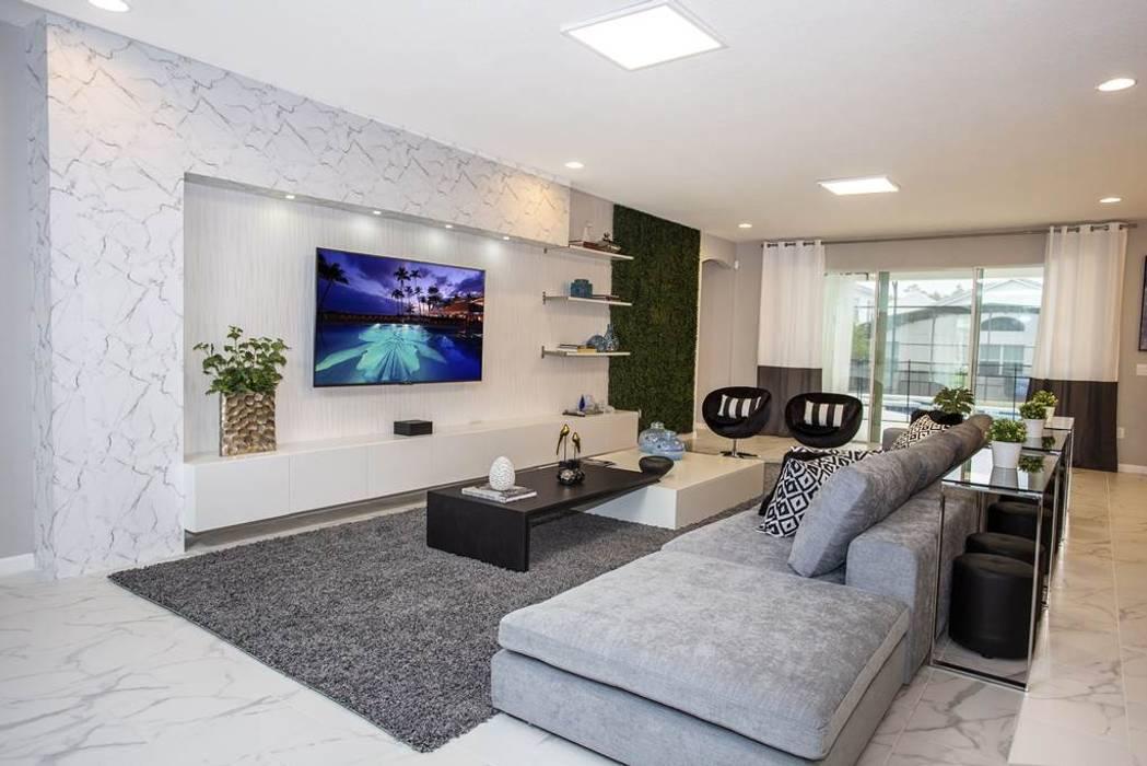 Sala de estar Flávia Gueiros Salas de estar modernas Cinza