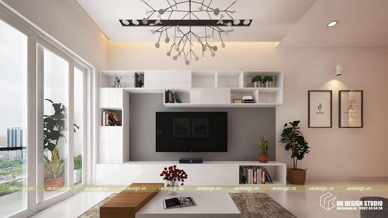 Thiết kế phòng khách:  Phòng khách by UK DESIGN STUDIO - KIẾN TRÚC UK, Hiện đại
