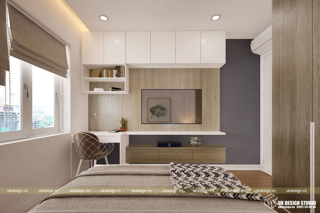 Thiết kế phòng ngủ:  Phòng ngủ nhỏ by UK DESIGN STUDIO - KIẾN TRÚC UK, Hiện đại