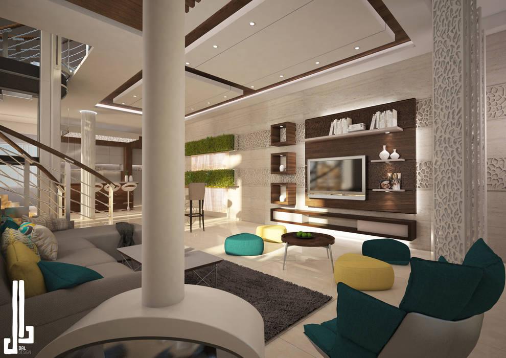 Ms. Safa'a Elayyan Villa:  Living room by dal design office,