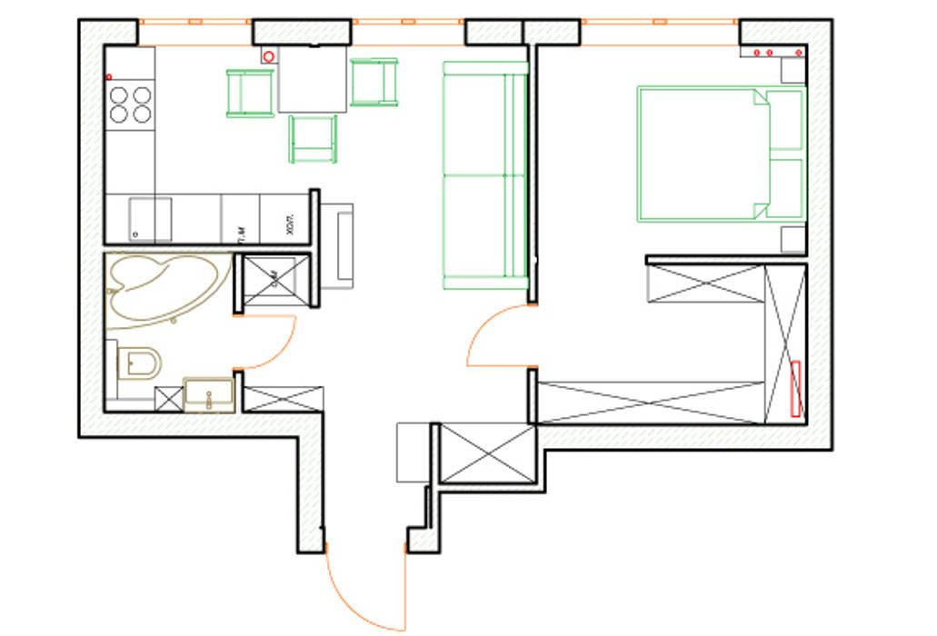 Однокомнатная квартира в которой есть всё:  в . Автор – дизайн-бюро ARTTUNDRA