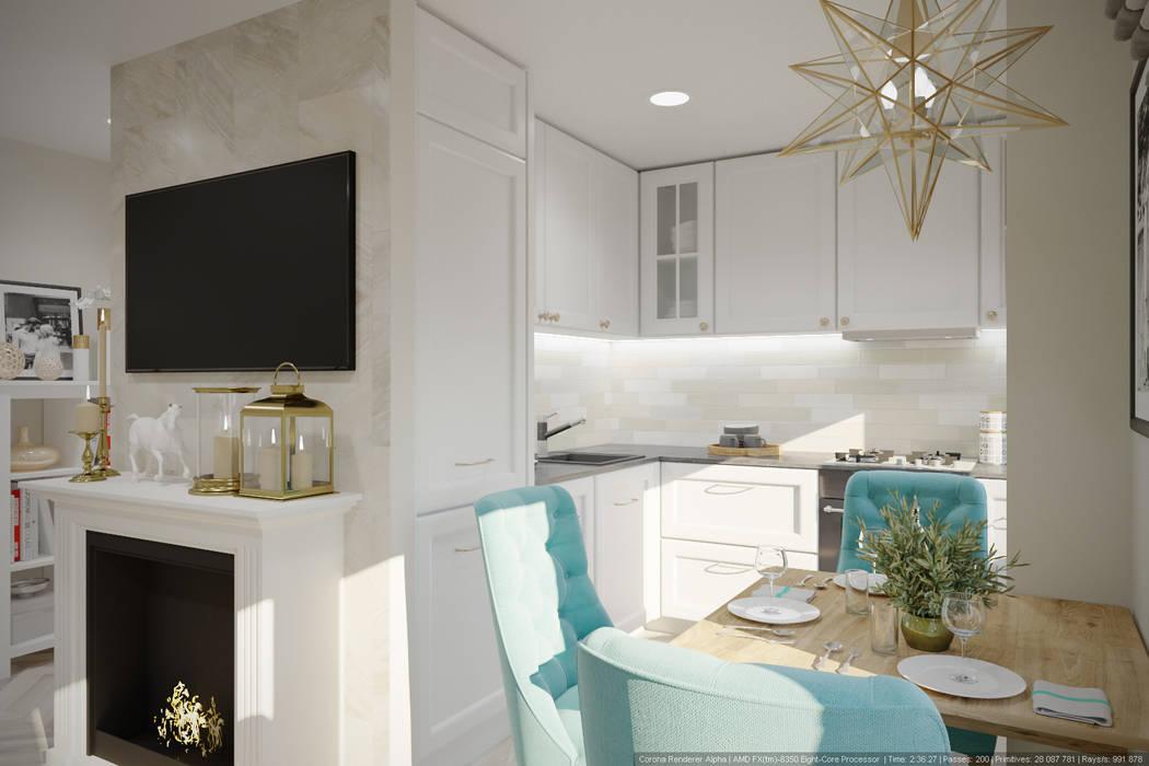 Однокомнатная квартира в которой есть всё: Кухни в . Автор – дизайн-бюро ARTTUNDRA