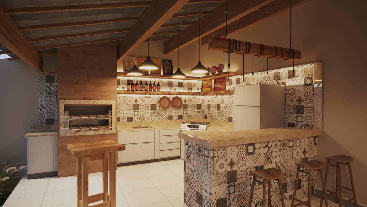Área de Lazer Churrasqueira | RJ por Gelker Ribeiro Arquitetura | Arquiteto Rio de Janeiro Rústico Derivados de madeira Transparente