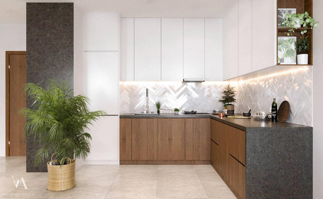Pastelowy naturalizm: styl , w kategorii Kuchnia zaprojektowany przez Valido Architects,