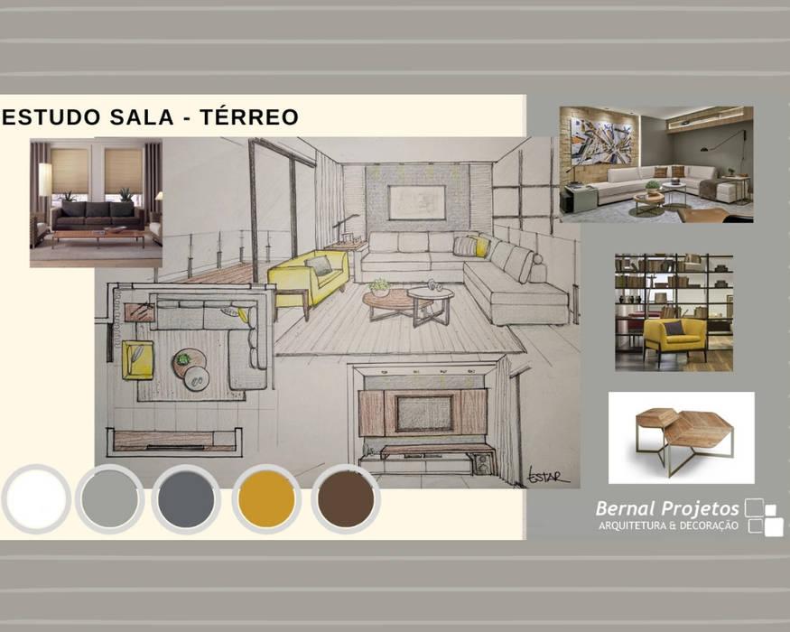 Estudo para sala:   por Bernal Projetos - Arquitetos em Salvador