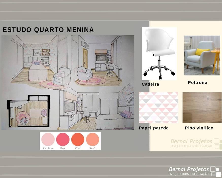Estudo para quarto de menina.:   por Bernal Projetos - Arquitetos em Salvador