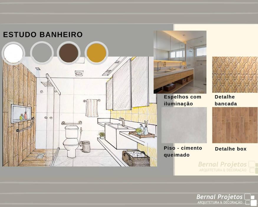 Estudo para banheiro:   por Bernal Projetos - Arquitetos em Salvador