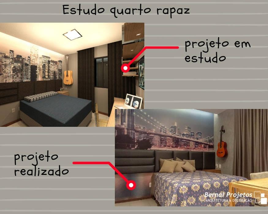Estudo para quarto do rapaz.:   por Bernal Projetos - Arquitetos em Salvador