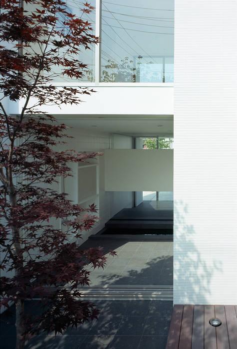 庭から浴室を見る 松岡淳建築設計事務所 モダンな庭