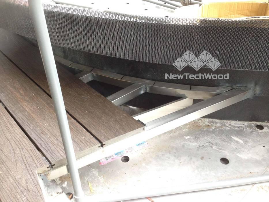 台中─高樓層景觀露臺 根據 新綠境實業有限公司 現代風 塑木複合材料