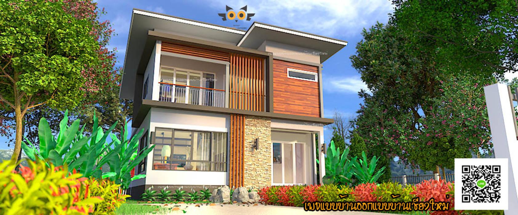 บ้านพักอาศัยสองชั้น อ.สันป่าตอง จ.เชียงใหม่:  บ้านและที่อยู่อาศัย by แบบบ้านออกแบบบ้านเชียงใหม่