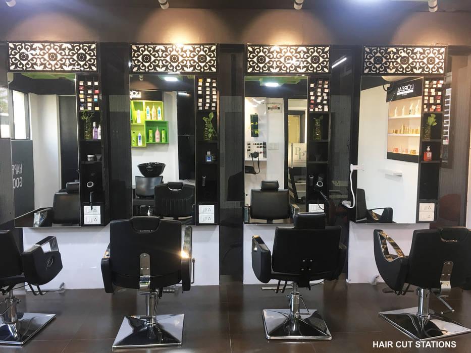 HAIR CUT STATION Modern clinics by KEYSTONE DESIGN STUDIOS Modern