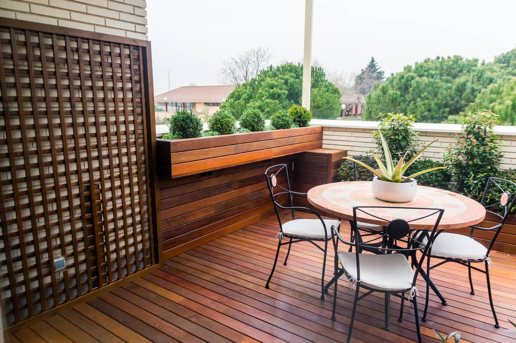 Jardinera Colgante De Madera Balcones Y Terrazas De Estilo