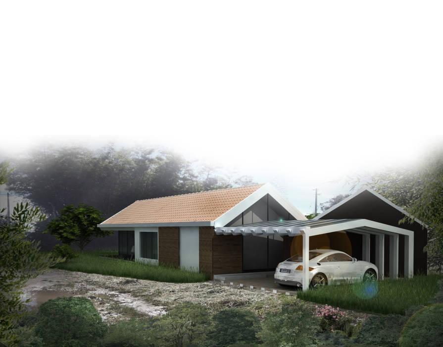 Casa de patio. Andrés Hincapíe Arquitectos: Casas campestres de estilo  por Andrés Hincapíe Arquitectos  A H A, Moderno Concreto
