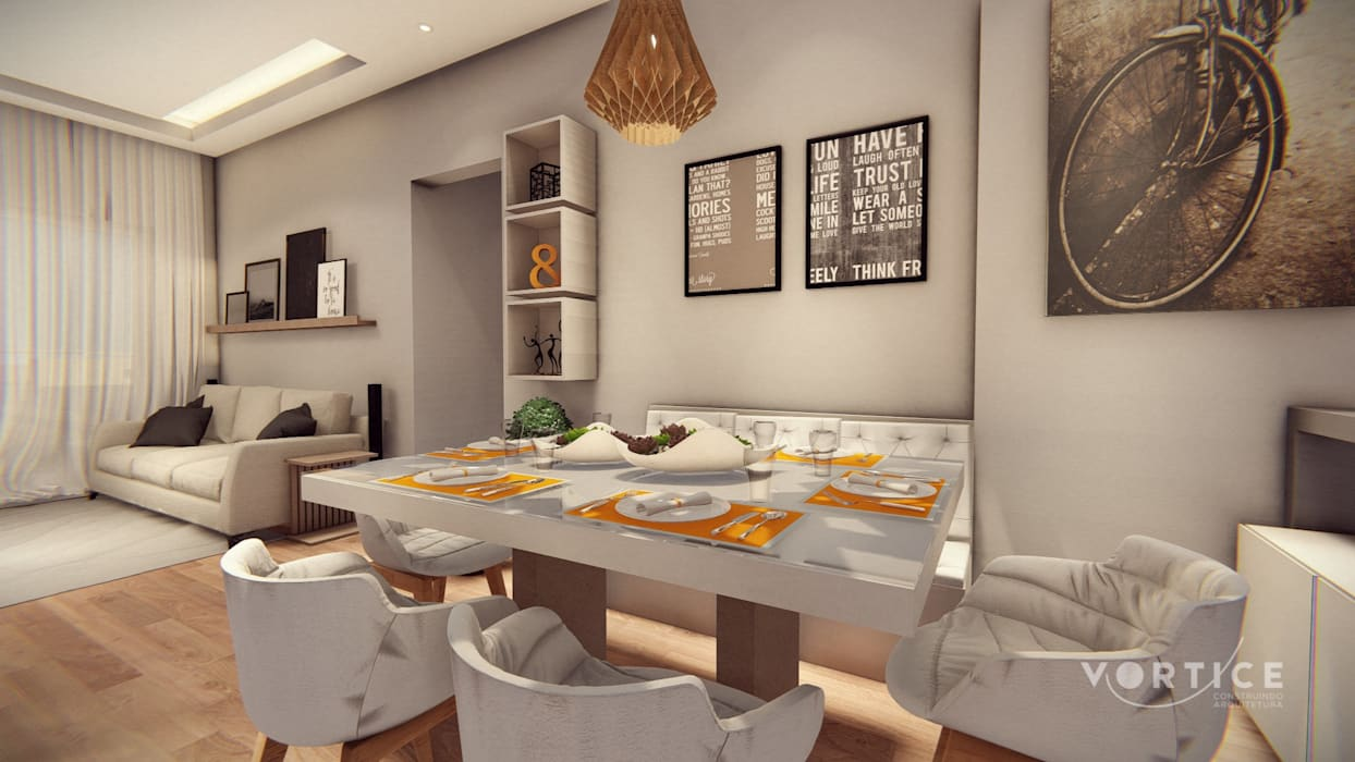 Salas que conversam: Salas de estar  por Vortice Arquitetura