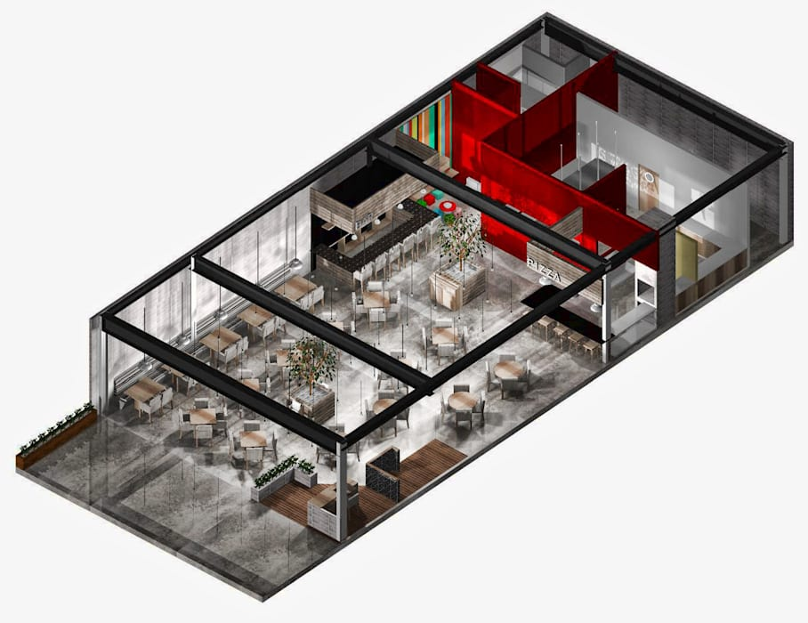 Render Propuesta 1: Restaurantes de estilo  por MoisesMedinaDesign