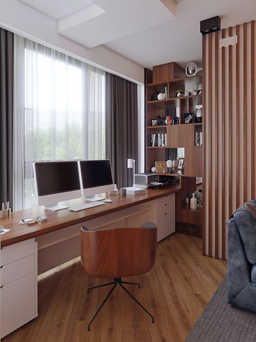Квартира В ЖК «Лайнер», 171 кв.м.: Рабочие кабинеты в . Автор – Loft&Home