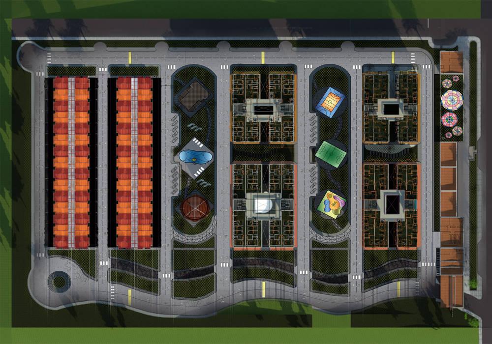 planta urbana Casas de estilo minimalista de OBS DISEÑO & CONSTRUCCION. Minimalista Concreto