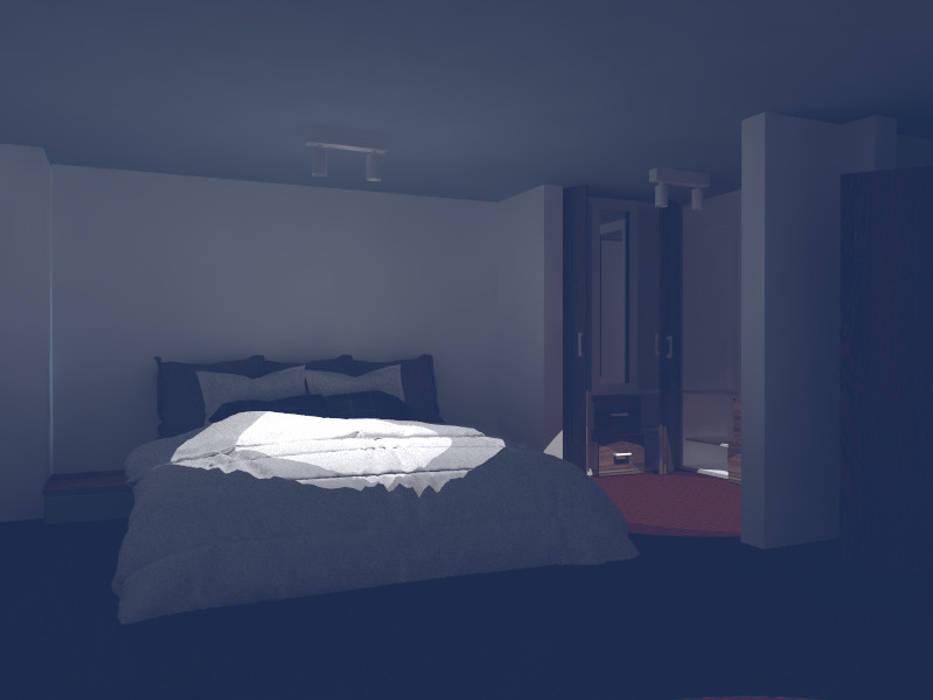 render interior habitacion principal. de OBS DISEÑO & CONSTRUCCION. Minimalista Concreto