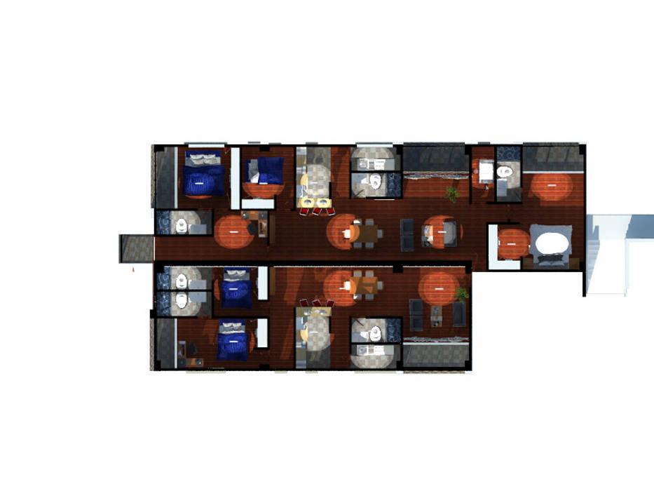 planta interior apartamento tipo A1 : Pisos de estilo  por OBS DISEÑO & CONSTRUCCION.