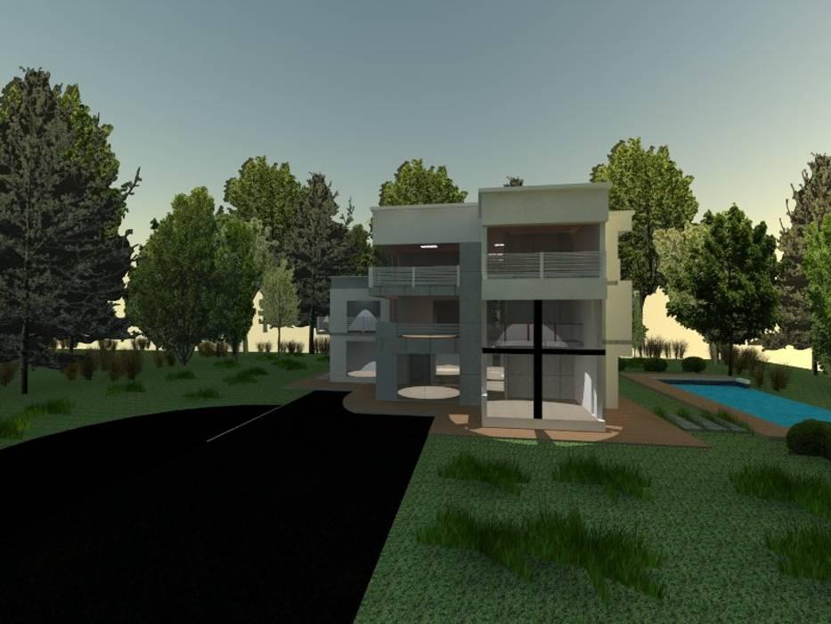 fachada: Casas campestres de estilo  por OBS DISEÑO & CONSTRUCCION.