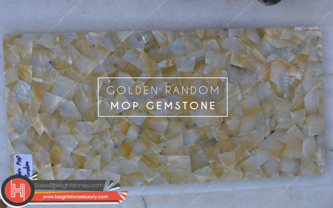 Golden Mother of Pearl slabs- height stones luxury Classic style dining room by Height Stones Classic Stone