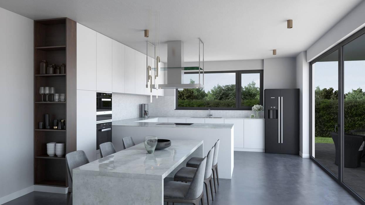 Açık Mutfak ve Salon Dündar Design - Mimari Görselleştirme Modern Mutfak