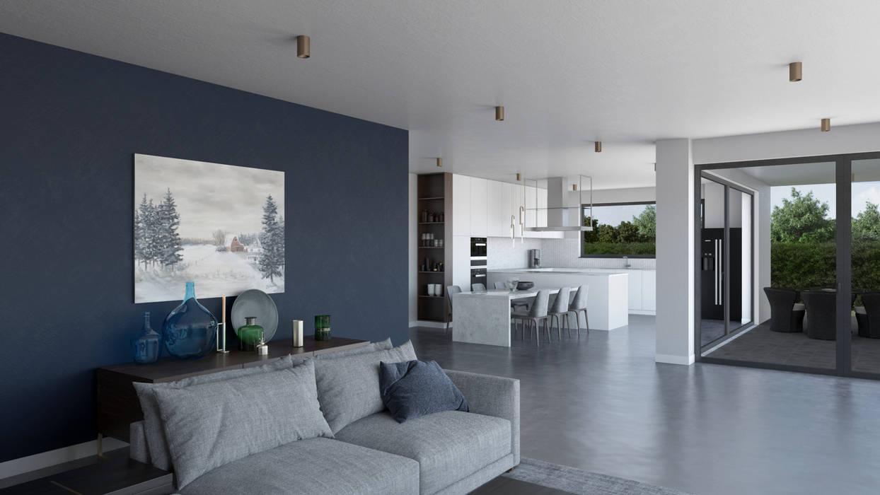 Açık Mutfak ve Salon Modern Mutfak Dündar Design - Mimari Görselleştirme Modern