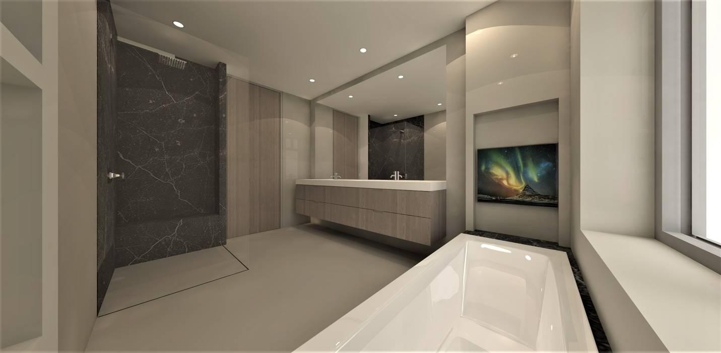Moderne badkamer met zwart marmer Moderne badkamers van Studio DEEVIS Modern Hout Hout