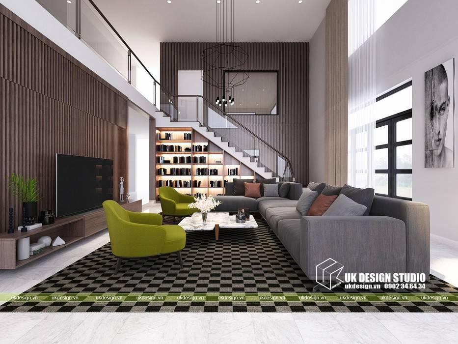 Nội thất biệt thự:  Phòng khách by UK DESIGN STUDIO - KIẾN TRÚC UK,