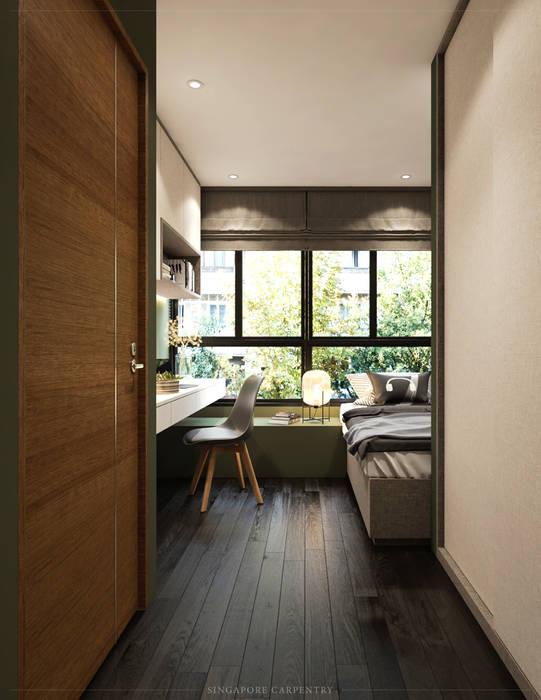 Modern Glamour at Gerald Drive:  Bedroom by Singapore Carpentry Interior Design Pte Ltd,Modern