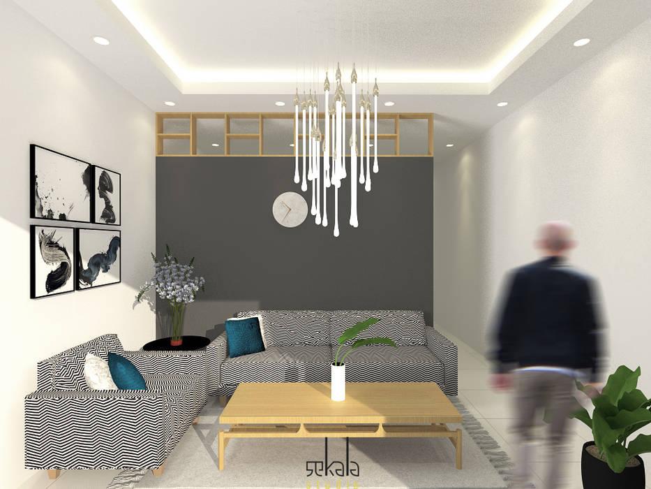 Desain Ruang Tamu (Guestroom Area) SEKALA Studio Ruang Keluarga Modern Batu Bata Grey