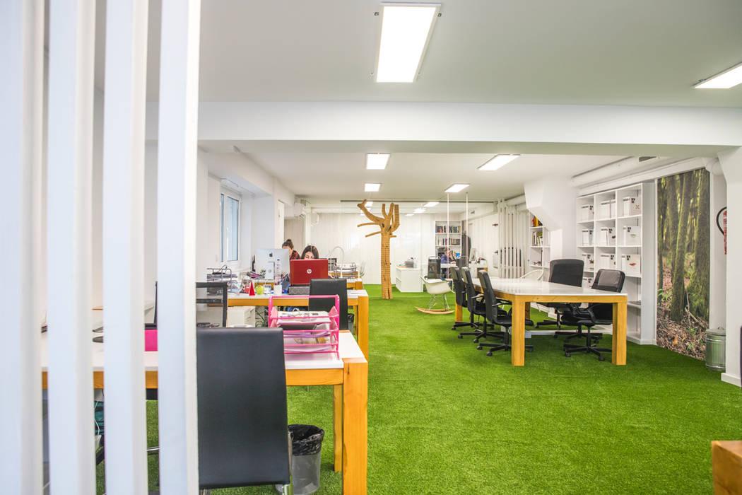 Instalación de césped artificial en interiores: Oficinas y Tiendas de estilo  de Albergrass césped tecnológico