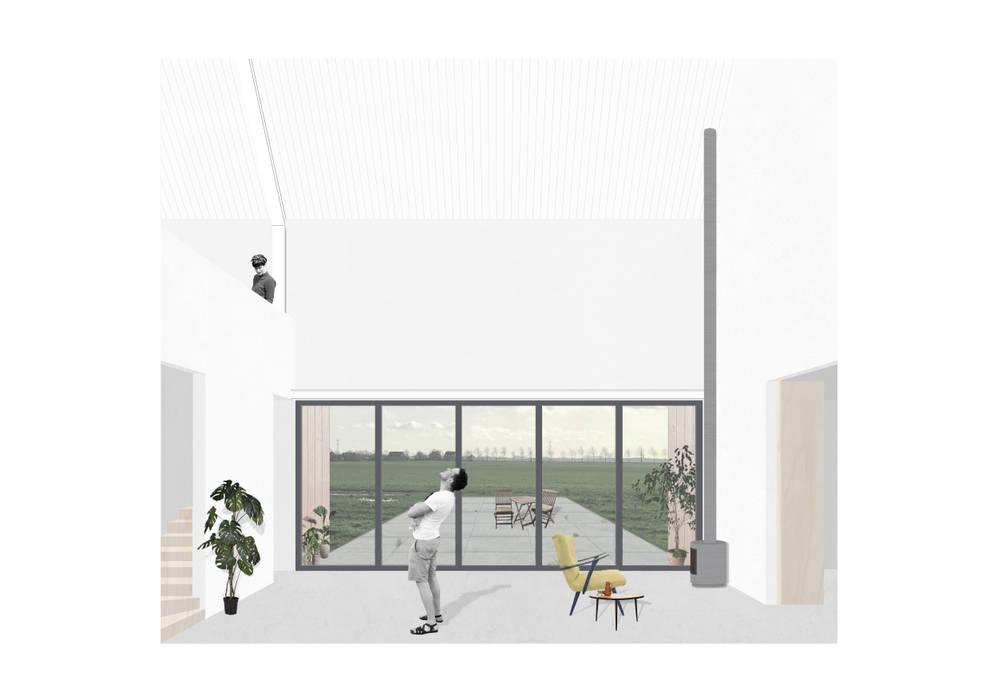 Barn in Spierdijk:  Woonkamer door Kevin Veenhuizen Architects