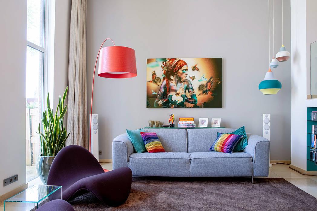 Interieurplan woonkamer in Leiden:  Woonkamer door Regina Dijkstra Design,