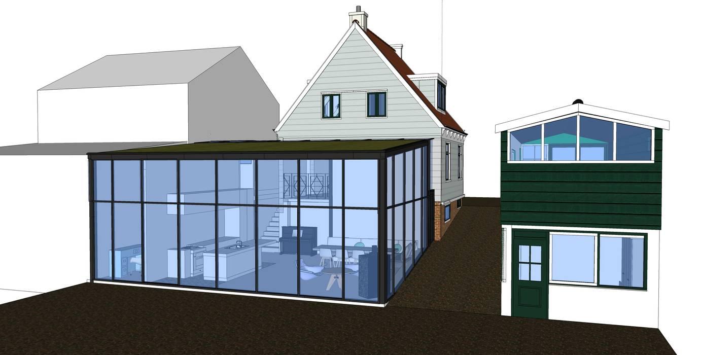 perpectief ontwerptekening achterzijde:  Huizen door Dineke Dijk Architecten