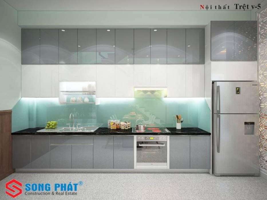 Mẫu phòng bếp với màu sắc và thiết kế bắt mắt.:  Phòng ăn by Công ty TNHH TK XD Song Phát, Hiện đại Than củi Multicolored