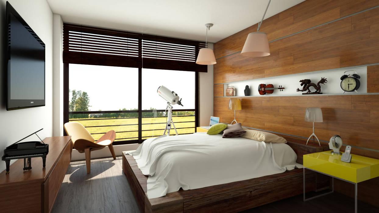 Habitación  apartamento / Conjunto residencial Trapiche Houses / Ibagué - Colombia : Habitaciones de estilo  por Taller 3M Arquitectura & Construcción,