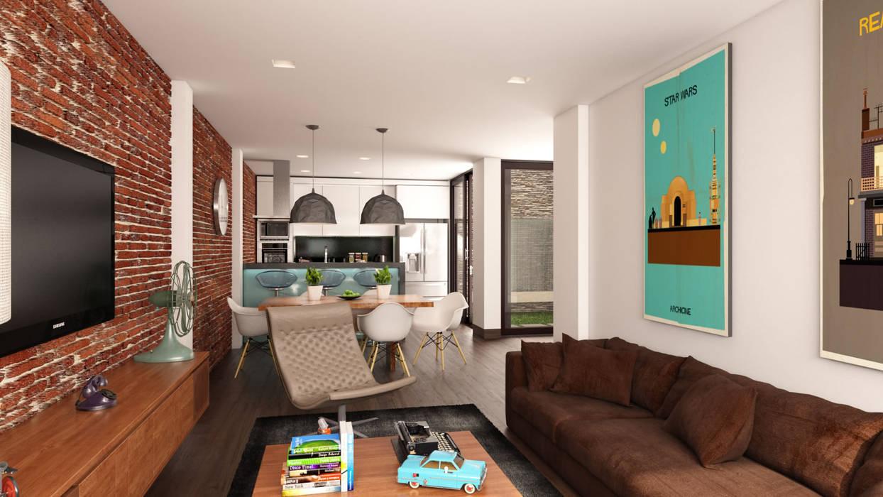 Área social apartamento / Conjunto residencial Trapiche Houses / Ibagué - Colombia : Salas de estilo  por Taller 3M Arquitectura & Construcción