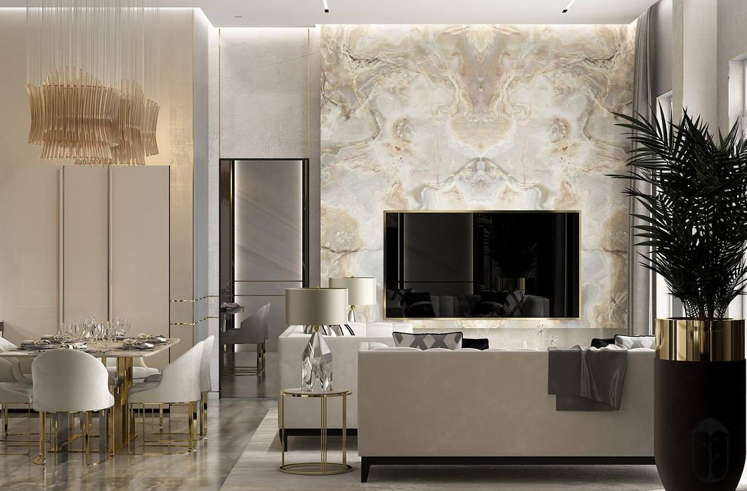 YOUSUPOVA 现代客厅設計點子、靈感 & 圖片