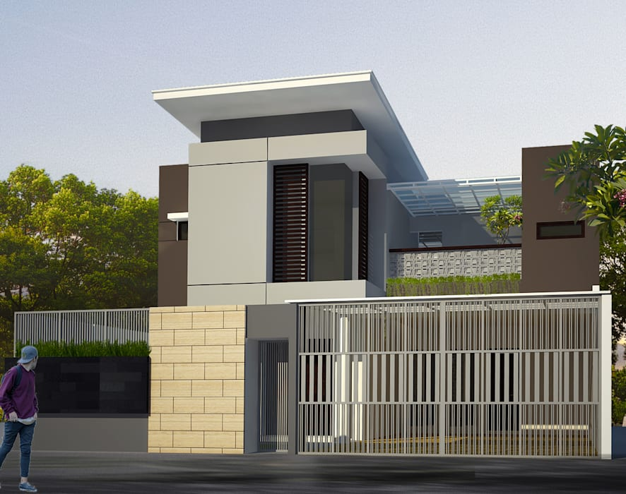 facade design Rumah Modern Oleh daun architect Modern