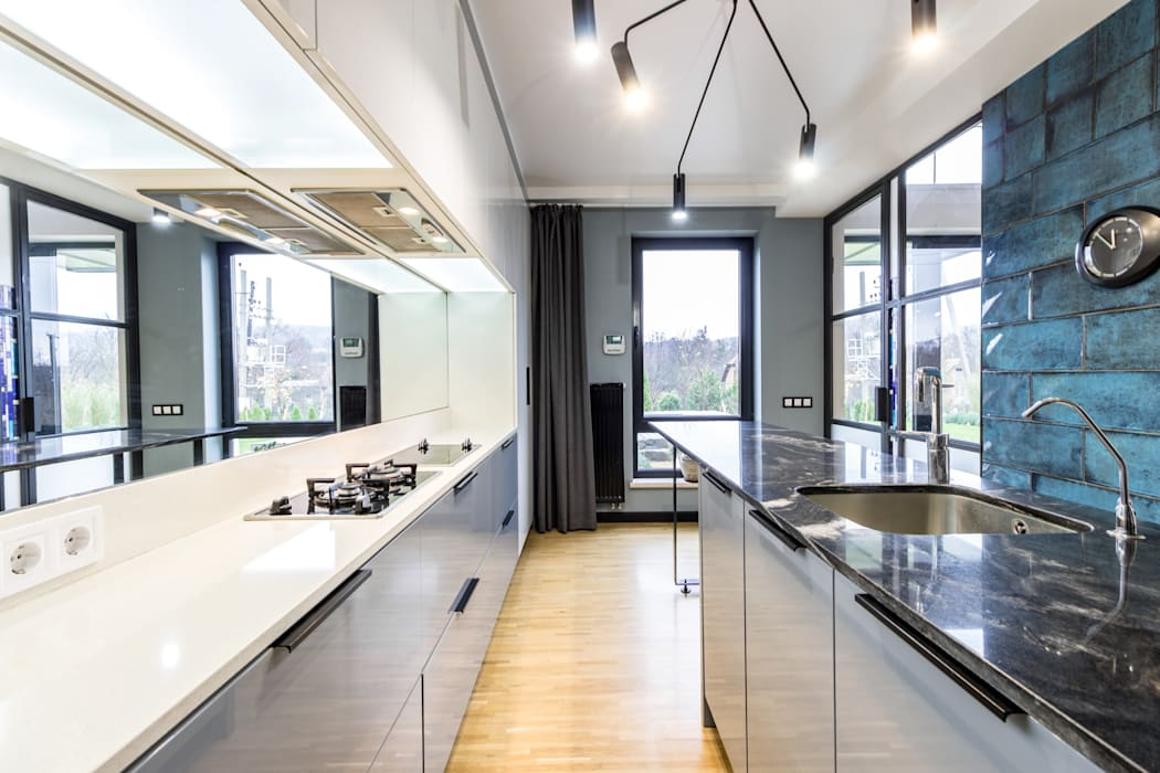 A country house project in Loft style Industrial style kitchen by Studio architecture and design LAD.Студия архитектуры и дизайна ЛАД . Industrial