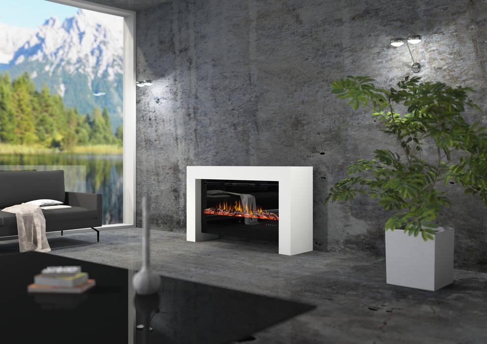 bridge moderner Design Elektrokamin:  Wohnzimmer von muenkel design - Elektrokamine aus Großentaft