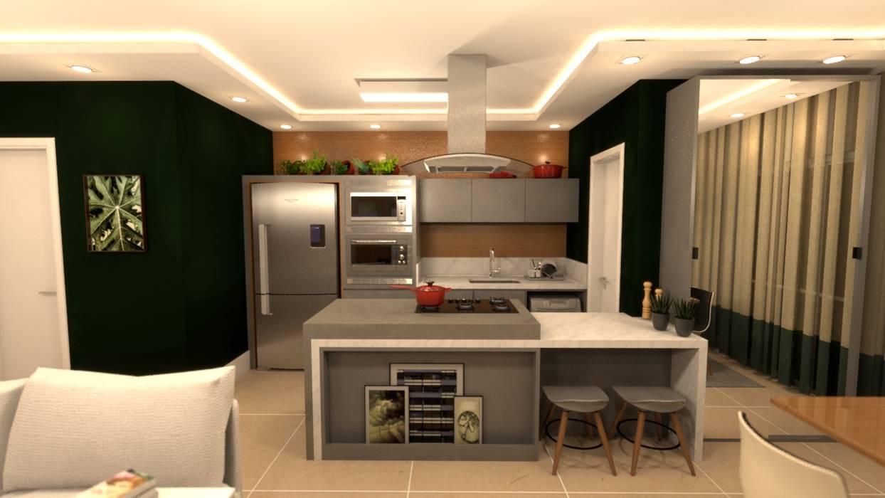 Cozinha centralizada: Armários e bancadas de cozinha  por Revisite,