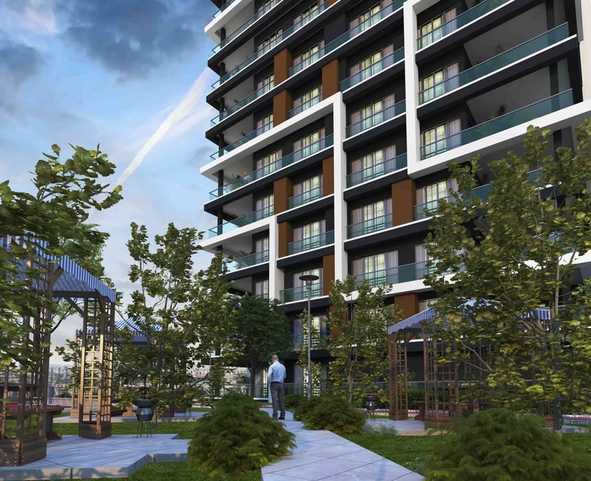 Mimayris Proje ve Yapı Ltd. Şti. – Bahçesinde sakinlik var:  tarz Ön avlu, Modern Taş